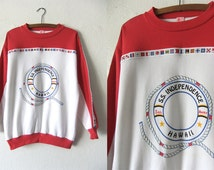 Nautical Themed Hawaii Sweatshirt - Color Block Sailing 90s Beach Style Oversize Jumper - Womens Large