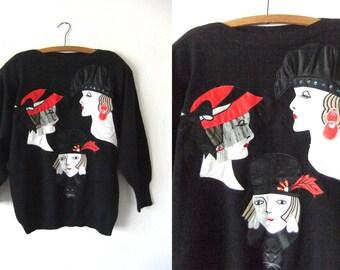 Hat Ladies Applique Vintage Sweater - Fashion Novelty Print Lace Faux Fur Detail Slouchy Fit Jumper - Womens Large