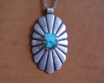 Sterling silver concho with turquoise