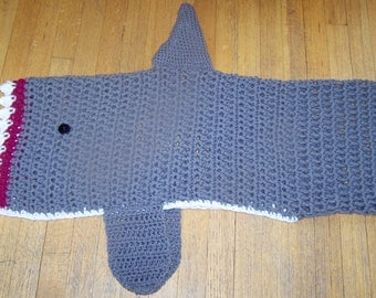 Crochet Shark Blanket Cocoon Lap Blanket Shark Tail Infant to Adult Any Color MADE TO ORDER