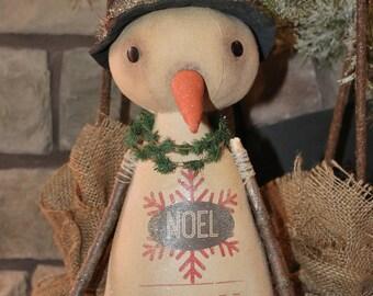 Primitive Snowman-Primitive Christmas-Winter Snowman--tbu1025