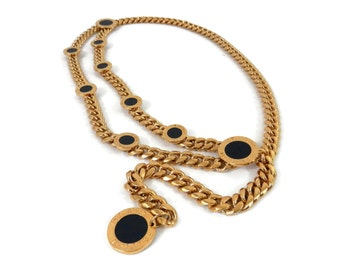 Signature 22 K Gold plate Chain Belt by St. John for Marie Gray with Black Enamel Medallions