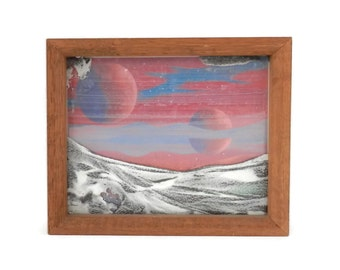 1970's Benny Andersson Lunar Moon Scape Painting with Sand Moon Terrain Sweden MCM decor
