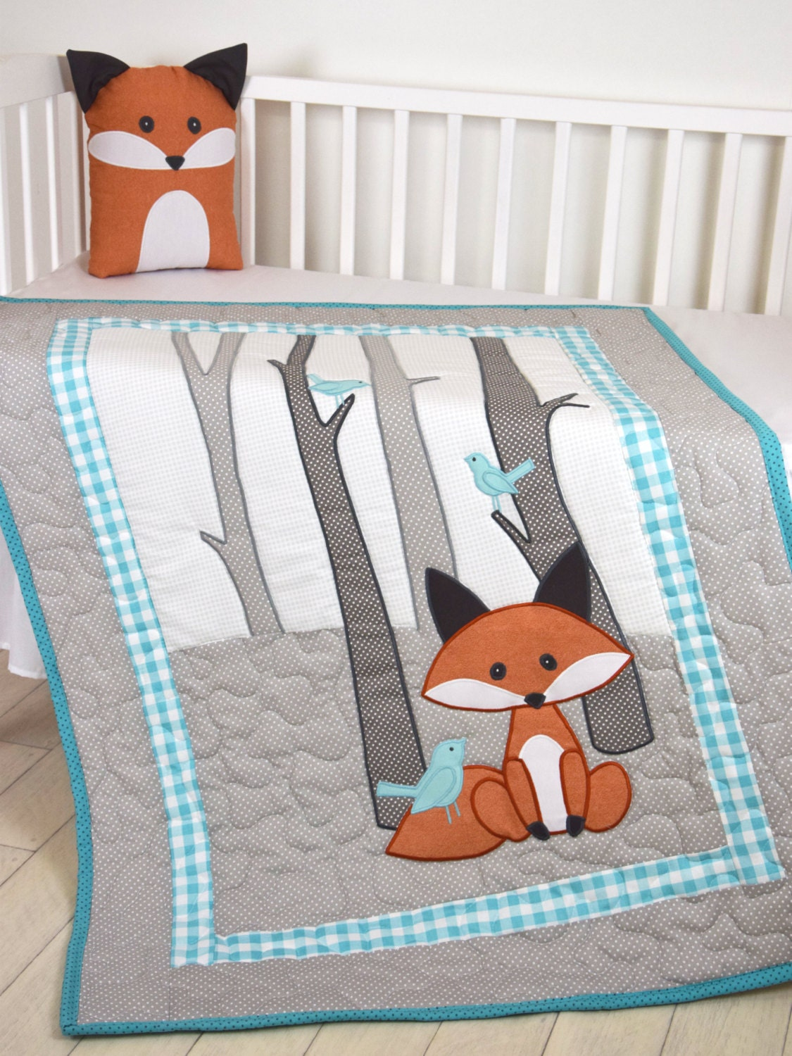 Fox Blanket Teal Gray Nursery Baby Boy Quilt Woodland Crib