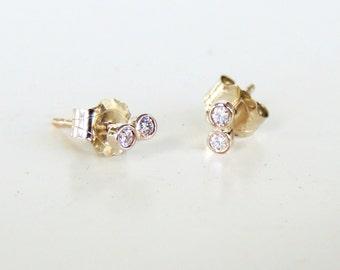 Infinity Diamond Earring, Diamond Earrings, Diamond Studs, Double Diamond Earrings, Tiny Diamond Earring, Dual Diamond Earring, Figure 8