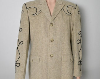 Vintage 1950s 1960s Western Wool Jacket with Sequin embroidery Western Wear by Lasso