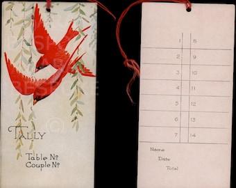 Art deco, Art nouveau, bridge tally cardinal ,bird, bookmark, bird interest