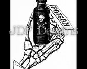 Instant Digital Download, Victorian Antique Graphic Ephemera, Vintage Skeleton Hand Poison Bottle, Gothic Halloween, Skull and Cross Bones