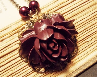 Plum and Bronze Victorian Rose Statement Necklace