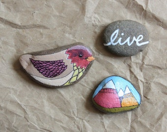 Painted Stones: Set of 3 hand painted stones. Mother's Day Gift. OOAK Nature Stones. Home and Office Decor.