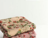Vintage Strawberry Cotton Fabric - Pink, Beige or Blue - By the Yard 93312