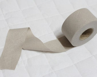 4 cm Linen Bias Tape in Light Grey - 12 yards - By the Roll - 91220