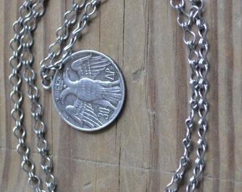 Beautiful antique edwardian art deco greek sweetheart heart silver coin necklace with silver chain / JHPOGT