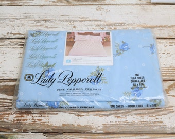 NOS Lady Pepperell Double Flat Sheet Blue Roses