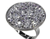 15mm 25mm  Quality rhodium-plated  RING  EU made for Crystal Rocks finding