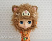 blythe kitty helmet hat, crocheted kawaii kitten hat for blyth