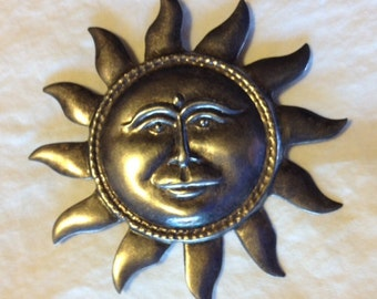 Sale - Vintage Silver Hand Made Repousse' Sun Brooch Pin