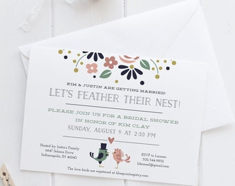 Lovebirds- Let's Feather their Nest! Bridal Shower Invitation