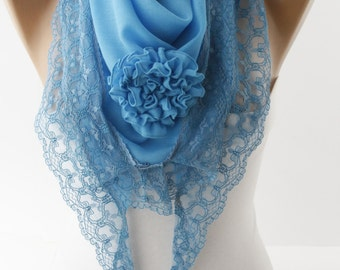 Light Blue Special Rose Scarf Victorian Scarf Cotton Scarf Rose Lace Scarf Spring Summer Scarf for her Fashion Women Accessories For Her