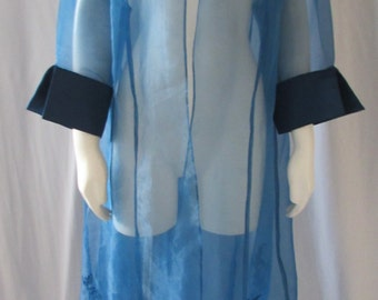 vintage 60s Sheer Blue coat Costume high fashion appliqued over coat