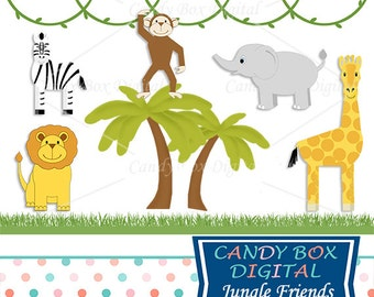 Jungle Safari Clipart, Zoo Animal Clip Art for Children - Commercial Use OK