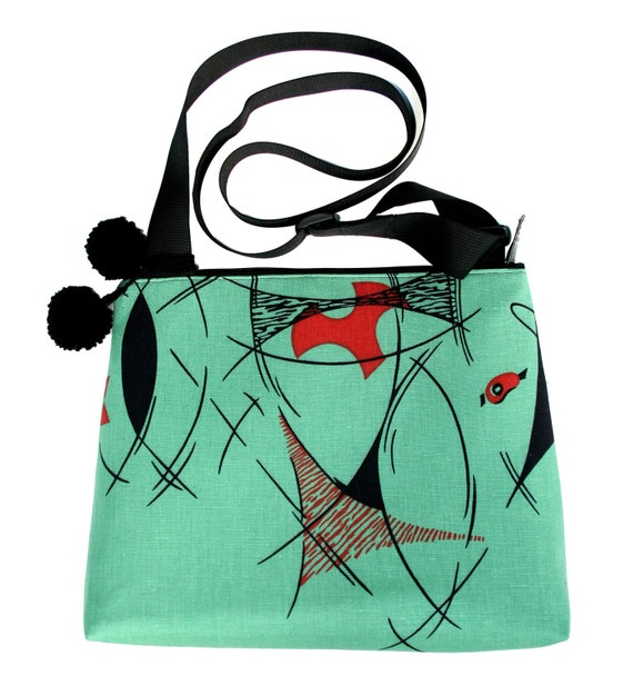 Retro, silkscreen, green, pom poms, large, cross body bag