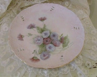 Hand Painted Artist Signed Porcelain Carnation Display Plate
