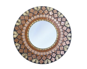 Round Mirror, Mosaic Mirror, Brown and Gold, Decorative Mirror in Geometric Pattern