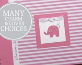 Baby Milestone Book | Memory Book Baby | Memory Baby Book | Baby Girl Album | Elephant Baby Book | Personalized | Pink Stripes with Elephant