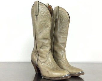 Cowboy Boots Vintage Green Gray Western Boot - Ladies Size 5