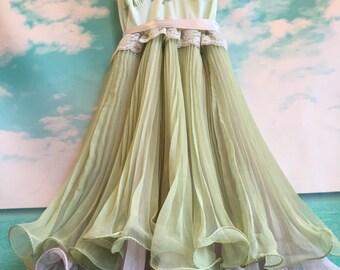 celadon & antique pink knife pleat chiffon boho party dress by mermaid miss Kristin