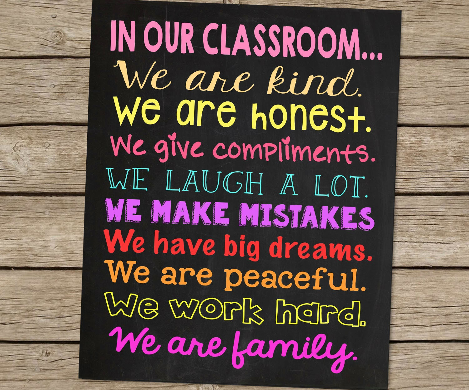 Classroom Sign Cute Teacher Gift Chalkboard Printable File