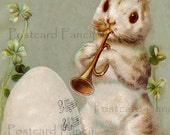 SWEET Easter Bunny Playing Music, Vintage Postcard, Instant DIGITAL Download