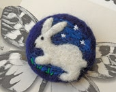 Moonlit White Rabbit / Hare & Stars Needle Felt Brooch Pin with Gift Box - Handmade in the UK from Pure Merino Wool