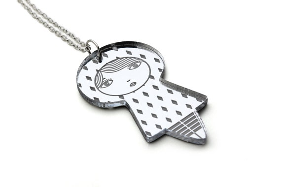 Doll necklace with diamonds - acrylic silver mirror - Japanese doll pendant - kawaii kokeshi jewelry - cute matriochka jewellery - lasercut