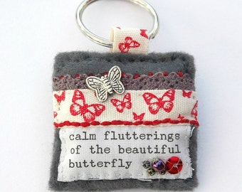 butterfly keyring, butterfly gifts for mum, butterfly gift ideas, hand sewn butterfly keychain, butterfly accessory, insect keyring, UK shop