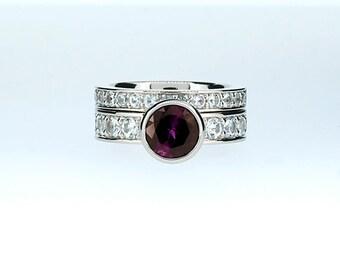 Engagement ring set, Amethyst engagement ring, White sapphire, wedding band, engagement, purple, amethyst solitaire, sapphire, unique, set