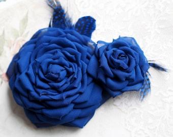 Blue Bridal Flower, Blue Wedding Hair Accessory, Vintage Style Hair Accessory, Blue Flower Hair Clip,Royal Blue Flower,Chiffon Bridal Flower
