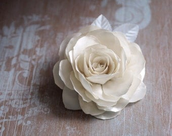 Bridal White Hair Accessory, Satin Fabric Flower, Wedding Ivory Headpiece, Ivory Hair Clip, Bridal Hair Accessory