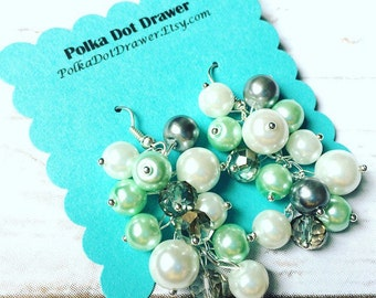 Mint Gray & White Cluster Pearl Earrings - Everyday Fancy or Bridesmaid wedding - Crystal Beaded Jewelry Drop Silver earring