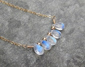 Moonstone necklace, gold rainbow moonstone jewelry, gold filled, moonstone gift petite, moon stone