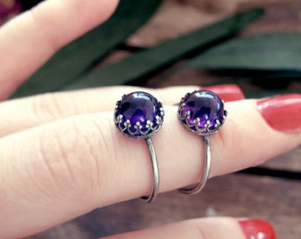 Amethyst ring, amethyst silver ring, victorian ring, amethyst crystal ring, promise ring, engagement ring, stone ring, antique ring