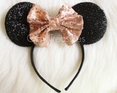 Rose Gold Glittery Bow On Mouse Ears. Girl Mouse Ears Headband. Womens Headband. Teen Headband. Mouse Ears Headband. Disney Headband.
