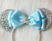 Cinderella Carriage Mouse Ears Headband. Blue Bow Mouse Ears. Disney Headband. Disney Princess Headband. One Size Fits Most.