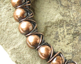 Copper bead bracelet wire wrapped bangle