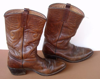 Red Wing Pecos Mens Leather Cowboy Work Boots . size 10 E . c1970s