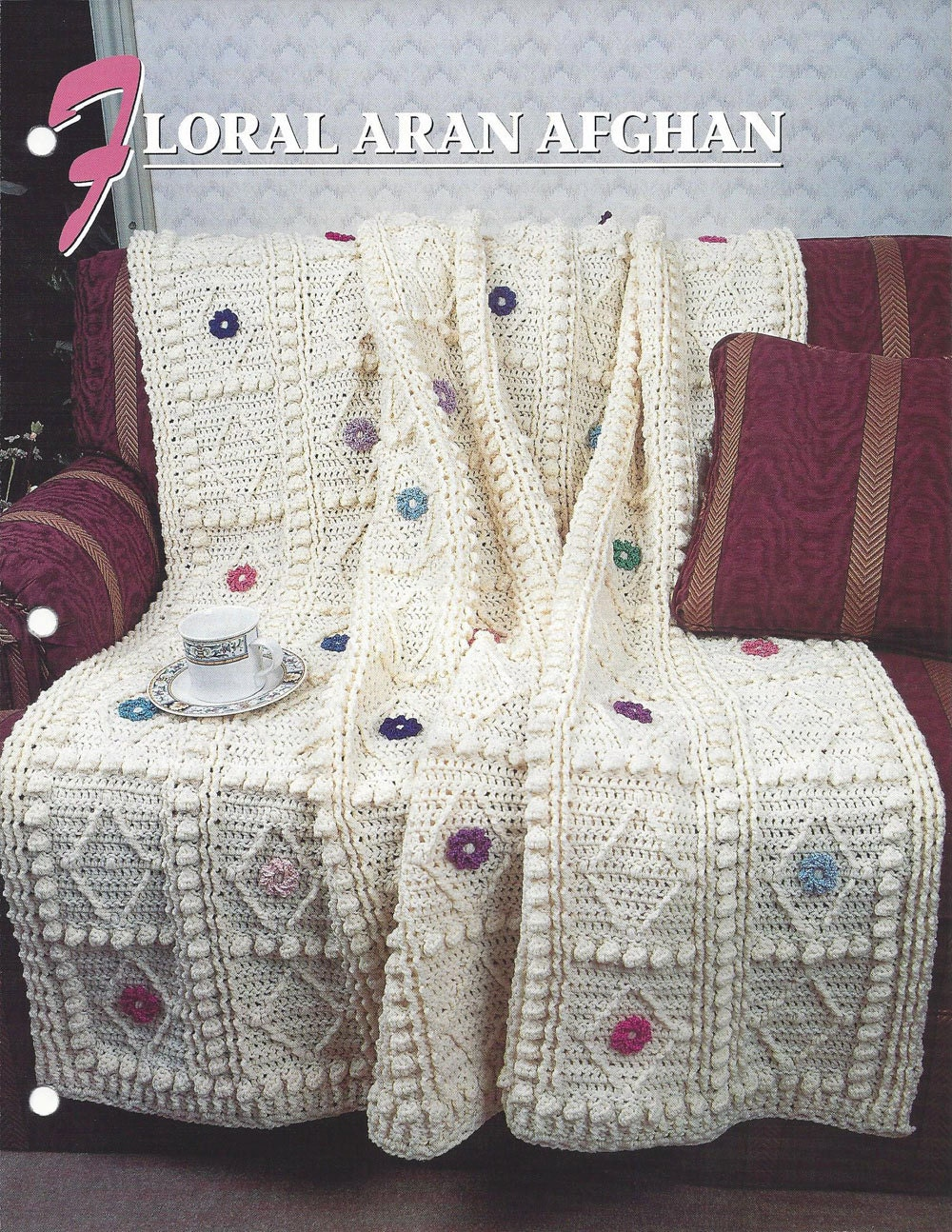 Crochet Afghan Patterns Quilt : Floral Aran Afghan Pattern Annies Crochet Quilt