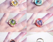 Poppy ring, Ajustable Artisanal Statement Flower Ceramic Ring, Yellow Blue Pink or Red , CHOOSE YOUR COLOR