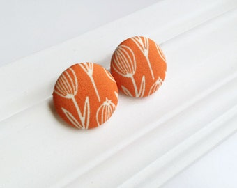 Fabric covered button earrings orange - Tulip stud earrings flower - Giant button earrings - Botanical jewelry Spring - Recycled jewelry