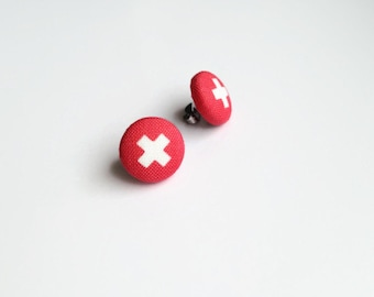 Fabric covered button earrings - Kisses studs - Cross jewelry - Plus sign earring - Coral red Button jewelry - Made in Canada - Mlle Bouton